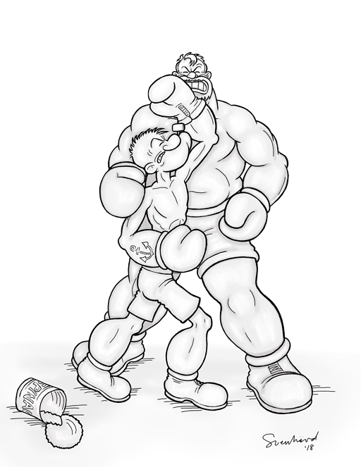 Popeye vs. Bluto Sculpture Design